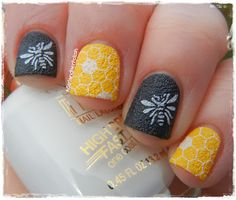 A Girl and Her Polish: Milani Textures Swatches and Review - I love the bee and honeycomb nails.
