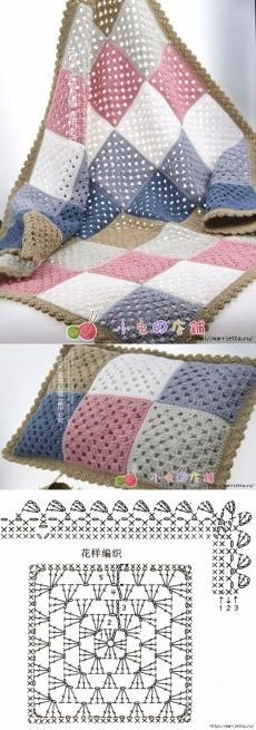 """Детский плед и подушка крючком бабушкиными квадратами """"Crochet granny squares, see edging diagram."""", """"Six different patterns from the same two-color gra"""