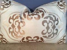 Cowtan Tout Linen Embroidered Insert Robert Allen Shimmer Linen Back Pillow | eBay