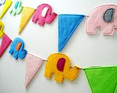 Felt Elephant & Pennant Banners Sewing Pattern by preciouspatterns, $3.99