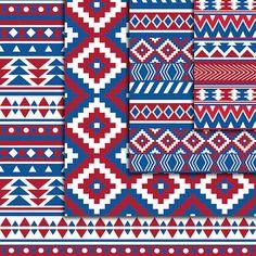 AZTEC Digital Paper maroon blue Seamless Tribal Digital