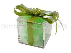 Cubo contenitore in plexiglass con raso e fiorellino con strass