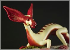 Bat Eared Sap Dragon fantasy sculpture OOAK polymer clay. $425.00, via Etsy.