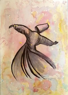 SUFI  WHIRLING DERVISH Original watercolor painting by serifece