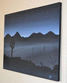 Easy Acrylic Painting On Canvas Ideas | Misty Night (Acrylic painting on stretched canvas) by JSHarts