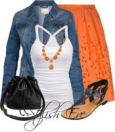 Cute First Date Outfit - Bright Orange & White