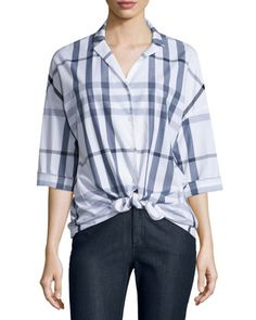Analeigh+Plaid+Bracelet-Sleeve+Blouse,+Denim+Blue+Multi+by+Lafayette+148+New+York+at+Neiman+Marcus+Last+Call.