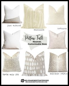 Neutral pillows with customizable sizes Bedding Master Bedroom, Master Bedroom Makeover, Neutral Pillows, Accent Pillows, Pillow Room, Pillow Talk, Perfect Pillow, Decorative Pillow Covers, Decorating Blogs