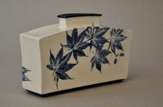 """Blue Maple Leaves"" White stoneware. Handbuilt.  Jo Anne Doyle"