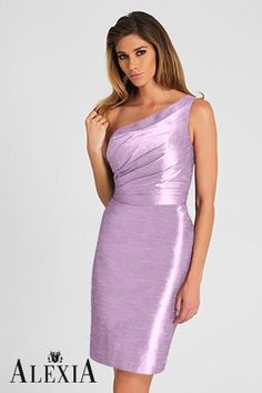 Style 4120 - Orchid poly shantung cocktail length dress featuring a one shoulder, pleated bodice with ribbon belt. Designer Bridesmaid Dresses, Wedding Dresses 2018, Prom Dresses For Sale, Junior Bridesmaid Dresses, Cheap Wedding Dress, Girls Dresses, Flower Girl Dresses, Bridesmaids, Dresses 2013