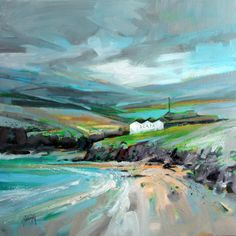 Scapa Distillery painting. Love the way the colour is focused on the centre of the image. The bleak, windswept feeling of the place really comes through in the thick brushstrokes and dramatic composition
