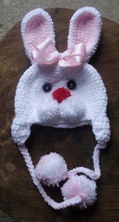 Bebek Bere Örgü Modelleri 73 - Mimuu.com Crochet Animal Hats, Crochet Kids Hats, Crochet Beanie Hat, Easter Crochet, Crochet Bunny, Crochet Crafts, Crochet Projects, Knitted Hats, Bonnet Crochet