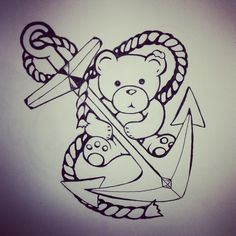 Designing a tattoo of a teddy and his anchor #tattoodesign