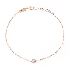Hugo strass bracelet by Les Soeurs, 925 silver rose gold plated with zirkonia