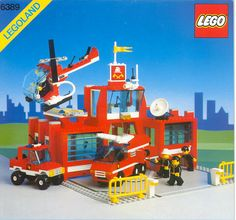 LEGO Set Fire Control Center - building instructions and parts inventory. Lego City Fire Station, Lego Burg, Best Lego Sets, Big Lego, Classic Lego, Lego Videos, Lego City Sets, Lego Boards, Lego City Police