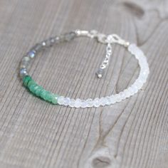 """""""Emerald+Moonstone+Labradorite"""" Gemstone Size Faceted Jewelry Bracelet in Jewelry & Watches, Fashion Jewelry, Bracelets Labradorite Jewelry, Gemstone Bracelets, Gemstone Jewelry, Beaded Jewelry, Handmade Jewelry, Jewellery, Gothic Jewelry, Modern Jewelry, Jewelry Necklaces"""