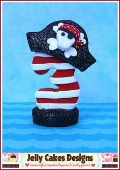 Pirate keepsake cake topper by jelly beads, via Flickr