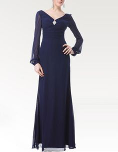 Find long sleeves chiffon floor length mother of the bride, groom dresses, mother of the bride dresses, wedding party dresses at discount prices