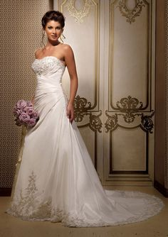 A-Line Chapel Trailing Strapless White Taffeta Embroidery Lace Up Back Roy Wedding Dresses