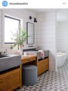 Shiplap, cement sink, and wood combo is good. Don't like the floor. Like fixture style but prefer brass.