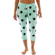 Coco Limon Mint & Black Stars Capri Joggers ($13) ❤ liked on Polyvore featuring activewear and activewear pants