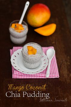 Mango Coconut Chia Pudding- Healthy and delicious chia pudding with local honey and fresh mango. #chia #dessert from Jellibean Journals