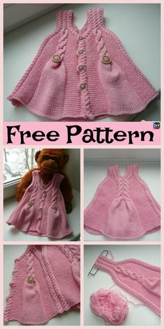 Pretty Knit Baby Girl Tunic - Free Pattern #freeknittingpattern #babygift #top #tunic