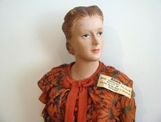 """Vintage MINIATURE STORE DISPLAY ADVERTISING COUNTER MANNEQUIN - 30"""" TALL, mature face mold, ca 1935-1940. Camp lingerie model."""