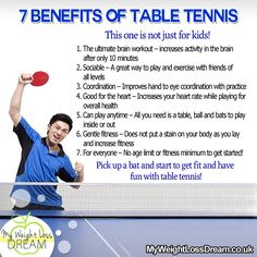 The 7 benefits of table tennis. This is not just for KIDS ;) #fitness #fitnesstips #tabletennis