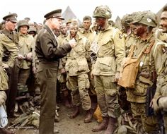 General Dwight D. Eisenhower meeting with men from Co. E, 2nd Battalion, 502nd Parachute Infantry Regiment (Strike) 101st Airborne Division