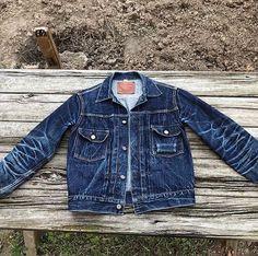 """""""Sugar Cane Type II jacket at 600 days with 2 washes Denim jeans indigo selvedge Denim Boots, Denim Jacket Men, Denim Shirt, Vintage Jacket, Vintage Denim, Levis 501, Fashion Wear, Denim Fashion, Edwin Jeans"""