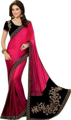 Shop Avenue Embriodered Fashion Georgette Sari - Buy Pink Shop Avenue Embriodered Fashion Georgette Sari Online at Best Prices in India   Flipkart.com