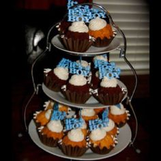 """Nothing bundt cake cupcakes with """"it's a boy"""" toppers instead of cake"""