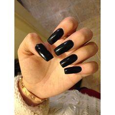 Long black acrylic square nails. Nails