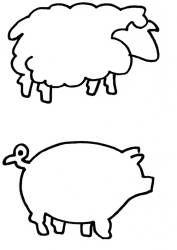 Farm animals quilting stencil