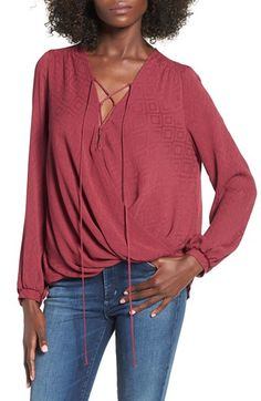 Lush Lace-Up Surplice Blouse