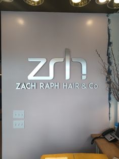Jeff just installed this lovely new brushed aluminum lobby sign for Zach Raph Hair & Co. in Burnsville. Worth the drive! Sign Design, Signage, Hair, Home Decor, Decoration Home, Room Decor, Billboard, Home Interior Design, Signs