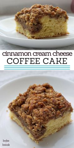 Cinnamon Cream Cheese Coffee Cake features a swirl of sweet cream cheese filling in a traditional coffee cake with a cinnamon-nut crumb topping. ~ http://www.bakeorbreak.com