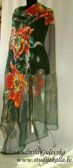 Hand painted natural silk fabric silk painting by Studijakalla