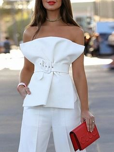 Incredibly Shop for the White Cotton Blend Bandeau Buckle Strap Waist Chic Women Blouse onl. - Women's Jewelry and Accessories-Women Fashion Bandeau Outfit, Mode Outfits, Fashion Outfits, Fashion Tips, Fashion Trends, Fashion Clothes, Fashion Shirts, Woman Outfits, Fashion Videos