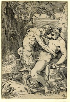 A satyr and nymph embracing; in a landscape of trees a nymph seated on a rock…