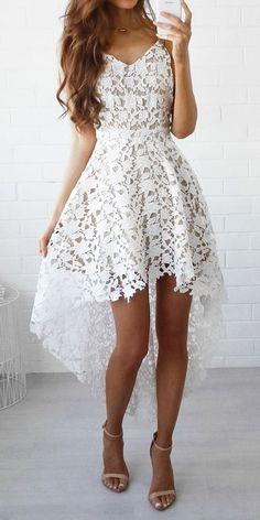 white spaghetti strap cami lace dress & strappy heels.