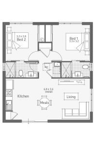 Perth's best 2 and 3 bedroom granny flat designs. Compare granny flat floor plans built to the same high level of quality as a Dale Alcock home. Oahu, Granny Flat Plans, Small House Floor Plans, Cottage Plan, Apartment Plans, Small House Design, Tiny House Living, Cabin Plans, House Layouts