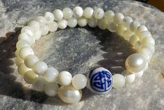 Mother of Pearl Mala Bracelet prayer beads rosary  54 beads