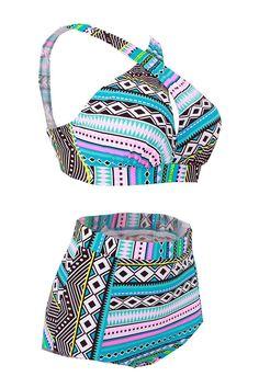 4454e36b5cd High Waisted Floral Bikini Front Cross Tribal Ladies Plus Size Swimwear -  Plus Size Clothing