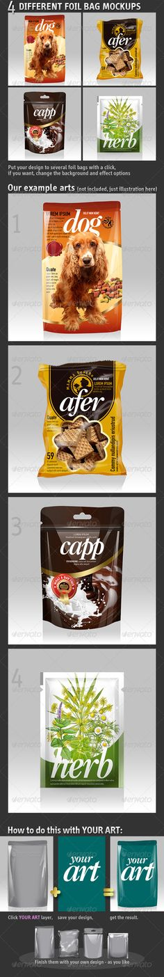 4 Different Foil Bags Packaging Mockups  #food #lamination • Available here → http://graphicriver.net/item/4-different-foil-bags-packaging-mockups/5427126?s_rank=770&ref=pxcr