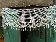 superb vintage FRENCH all Handworked door or window lacy PORTIERE!!!!!!!