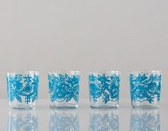 These colorful glass tumblers are made in Poland and their design was inspired by local folk pattern