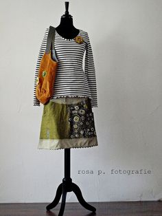 Romantic skirt with striped t-shirt- just right