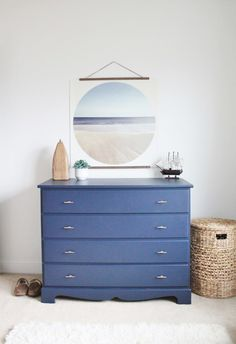 Modern Coastal Dresser Makeover in Navy Blue-Sherwin Williams Naval
